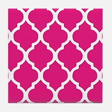 Quatrefoil Hot Pink Tile Coaster