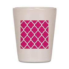 Quatrefoil Hot Pink Shot Glass