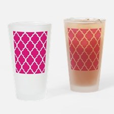 Quatrefoil Hot Pink Drinking Glass