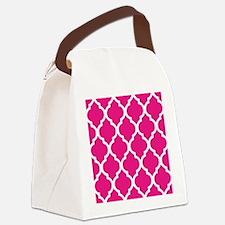Quatrefoil Hot Pink Canvas Lunch Bag
