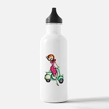Skeleton Girl on The Scooter Water Bottle