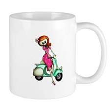Skeleton Girl on The Scooter Mugs