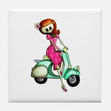Skeleton Girl on The Scooter Tile Coaster
