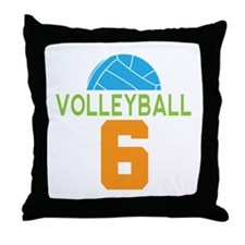 Volleyball player number 6 Throw Pillow