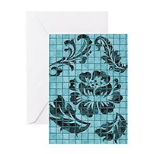 Floral Damask Blue Tiles Greeting Card