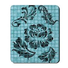 Floral Damask Blue Tiles Mousepad