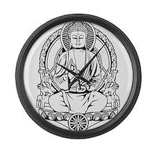Gautama Buddha Lines Large Wall Clock