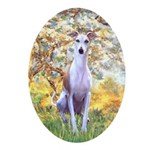 Spring / Whippet Ornament (Oval)