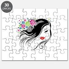 Flower Girl Head Women Silhouette Puzzle