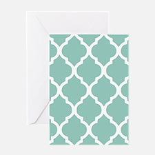 Aqua Chic Moroccan Lattice Pattern Greeting Card