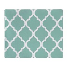 Aqua Chic Moroccan Lattice Pattern Throw Blanket