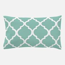 Aqua Chic Moroccan Lattice Pattern Pillow Case