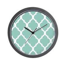 Aqua Chic Moroccan Lattice Pattern Wall Clock