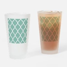 Aqua Chic Moroccan Lattice Pattern Drinking Glass