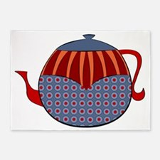Rolly Retro Teapot (lined) 5'x7'Area Rug