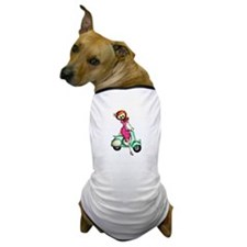 Skeleton Girl on The Scooter Dog T-Shirt