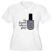 Silver Glitter Plus Size T-Shirt