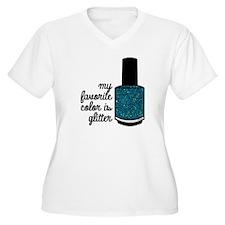 Teal Glitter Plus Size T-Shirt