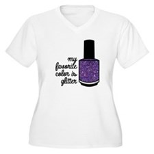 Purple Glitter Plus Size T-Shirt