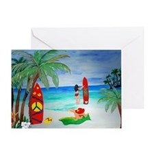 Surfing Girls Art Greeting Card