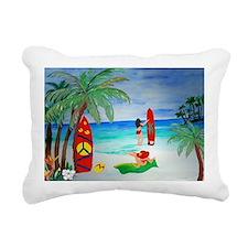 Surfing Girls Art Rectangular Canvas Pillow