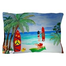 Surfing Girls Art Pillow Case