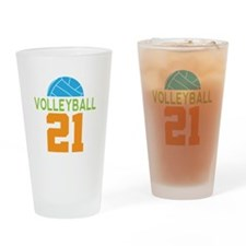 Volleyball player number 21 Drinking Glass