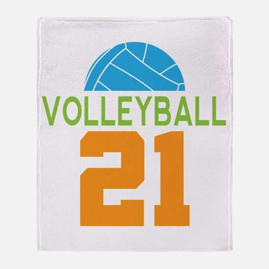 Volleyball player number 21 Throw Blanket