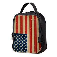 US Flag VINTAGE Neoprene Lunch Bag