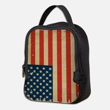 US Flag VINTAGE Neoprene Lunch Bag