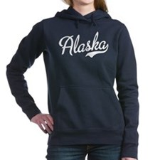 Alaska White Script Women's Hooded Sweatshirt