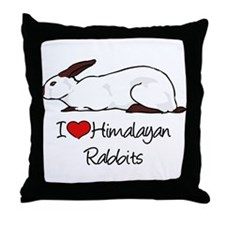 I Heart Himalayan Rabbits Throw Pillow