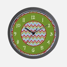 Bold Red and Green Christmas Chevron Zigzags Wall