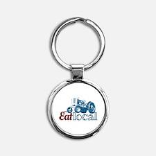 Eat Local Patriotic Round Keychain