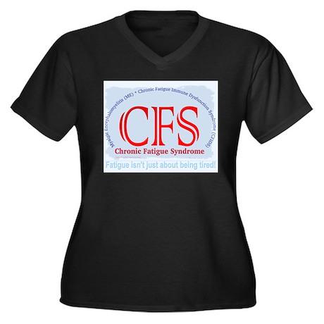 CFS Fatigue Women's Plus Size V-Neck Dark T-Shirt