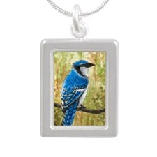 Bird 67 Blue Jay Silver Portrait Necklace