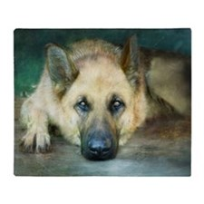 Blue Dreams German Shepherd Throw Blanket