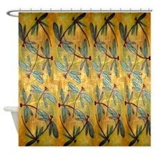 Dragonfly Golden Haze Shower Curtain