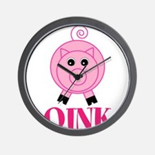 OINK Cute Pink Pig Wall Clock