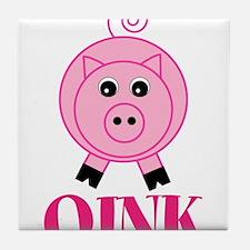 OINK Cute Pink Pig Tile Coaster