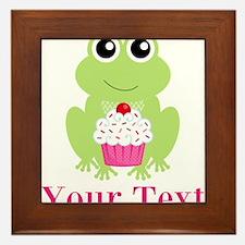 Personalizable Cupcake Frog Framed Tile