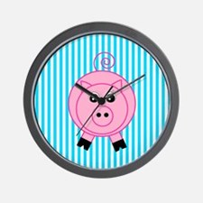 Pink Pig on Teal Stripes Wall Clock