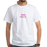 Due In March - Pink White T-Shirt