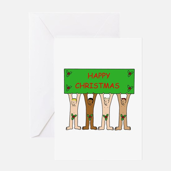 Naked Christmas men wearing holly. Greeting Cards