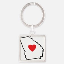 I Love Georgia Square Keychain
