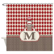 Retro M Monogram Sock Monkey Argyle Shower Curtain