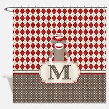 Retro M Monogram Sock Monkey Argyle Shower Curtain
