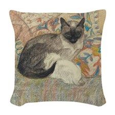 Steinlen Cat and Kitten Woven Throw Pillow