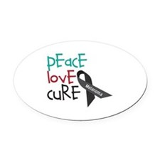 Peace Love Cure Oval Car Magnet