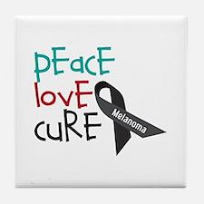 Peace Love Cure Tile Coaster
